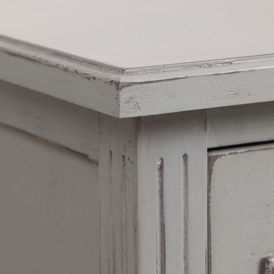 Commode sauteuse 2 tiroirs en épicéa gris perle