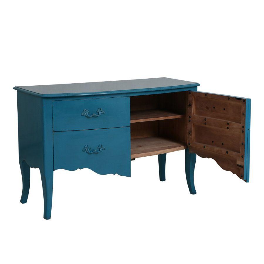 Commode 2 portes en épicéa bleu turquoise
