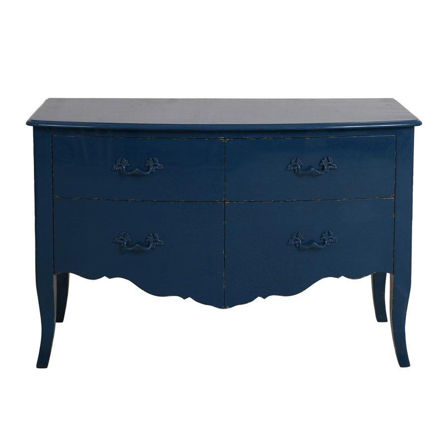 Commode 2 portes en épicéa bleu saphir