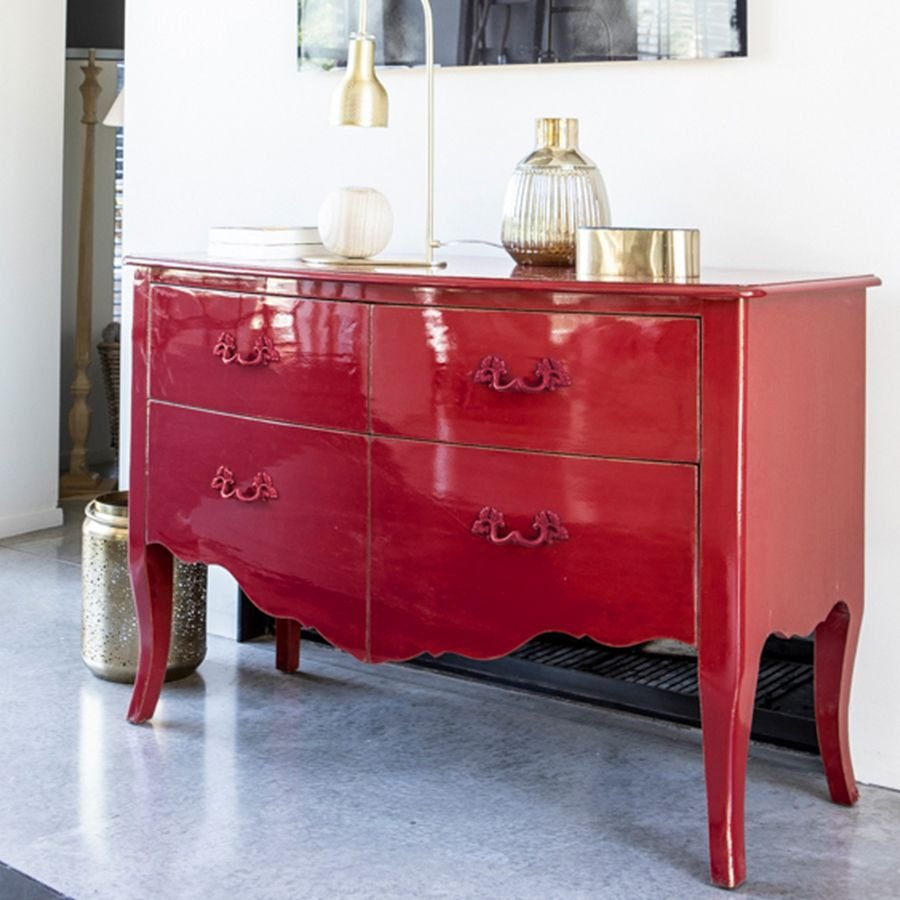Commode rouge groseille en épicéa