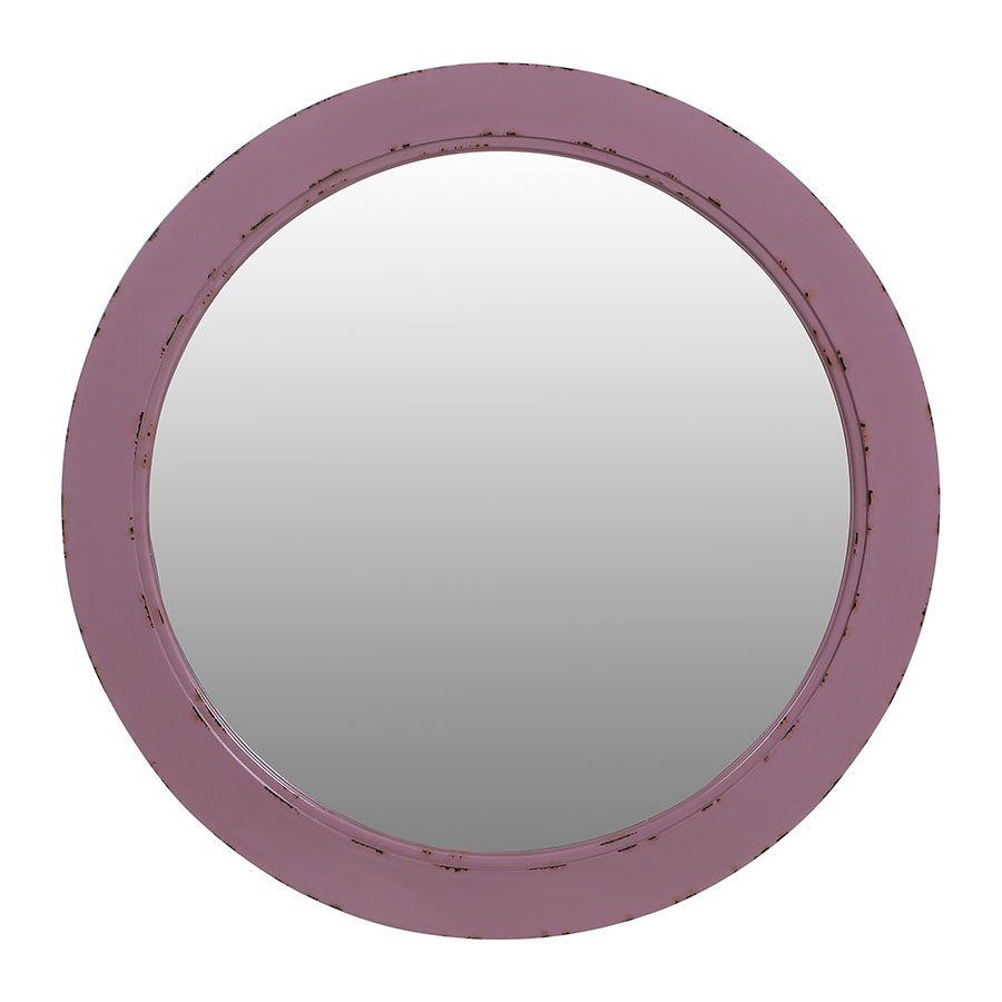 Miroir rond lilas en bois