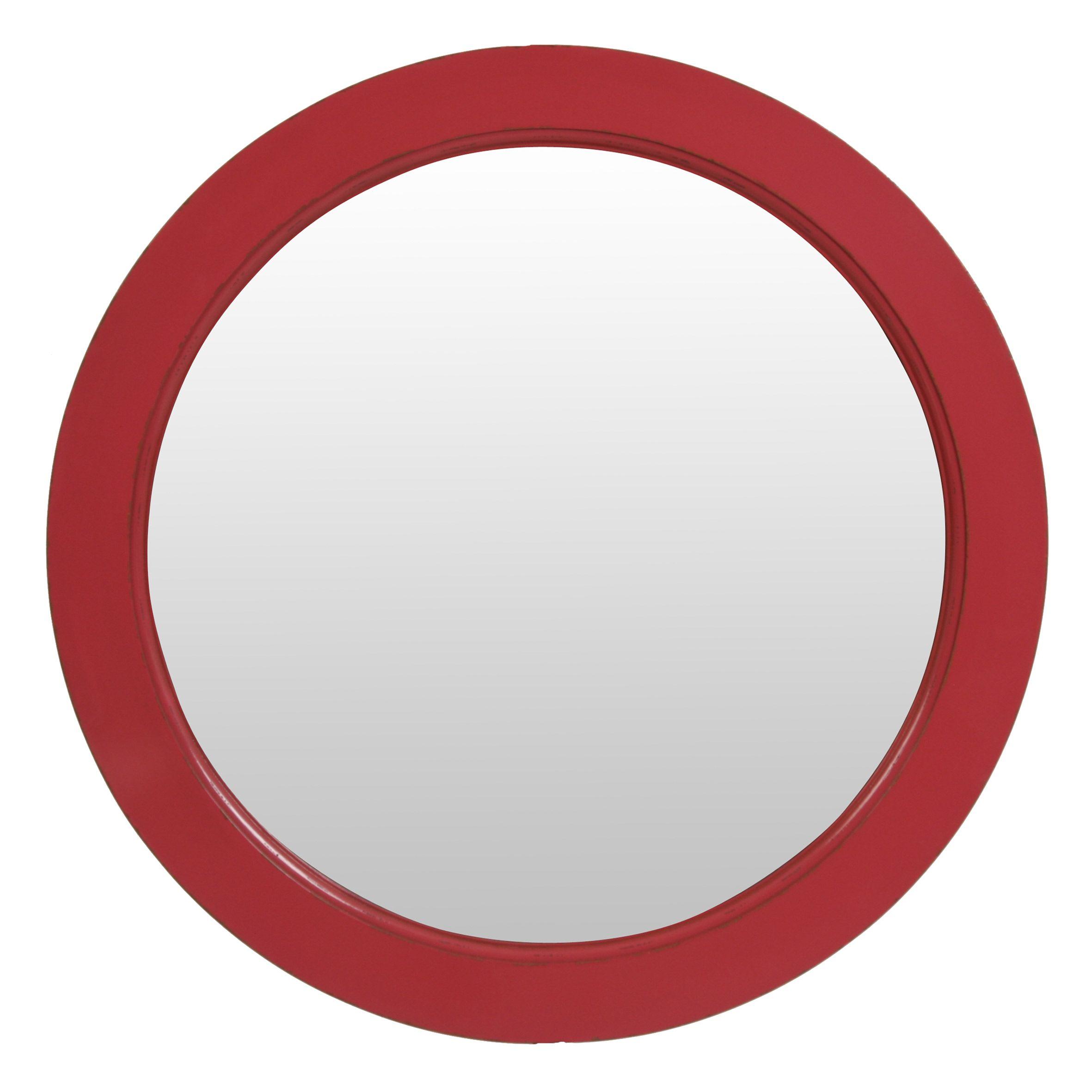Miroir rond rose pivoine en bois D75 cm