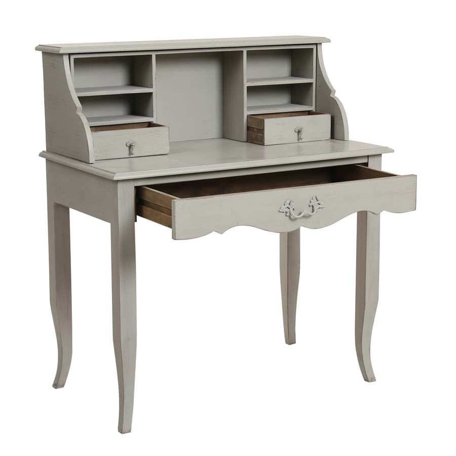Secrétaire gris 3 tiroirs en pin