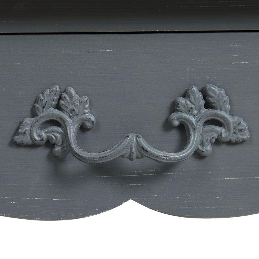 Secrétaire gris souris 3 tiroirs en pin