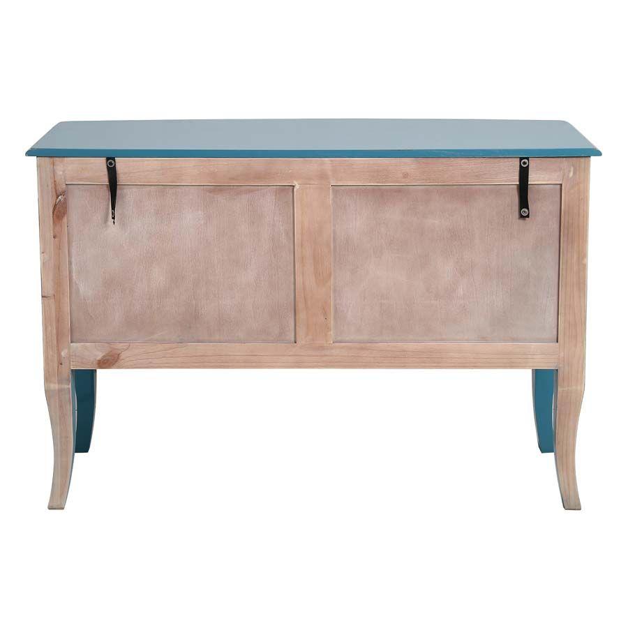 Grande commode bleue turquoise 4 tiroirs en pin