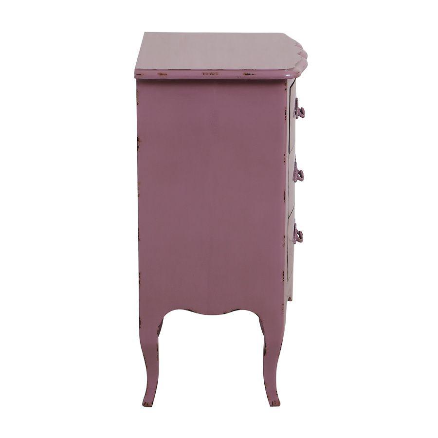 Petite commode 3 tiroirs en épicéa lilas et poignées en métal