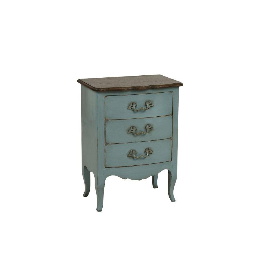 Petite commode 3 tiroirs en épicéa nuage de bleu et plateau chêne