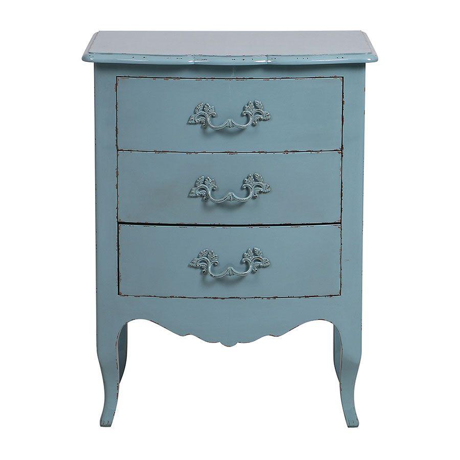 Petite commode 3 tiroirs en épicéa nuage de bleu