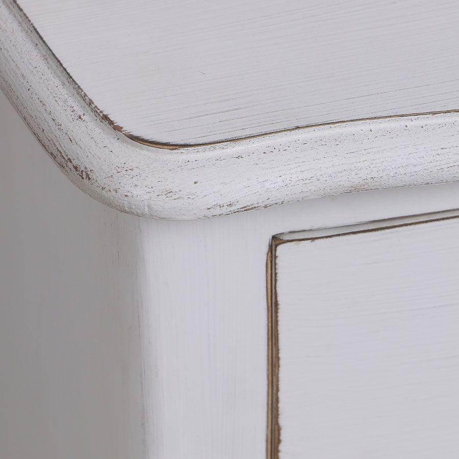 Petite commode blanc patiné 3 tiroirs en épicéa