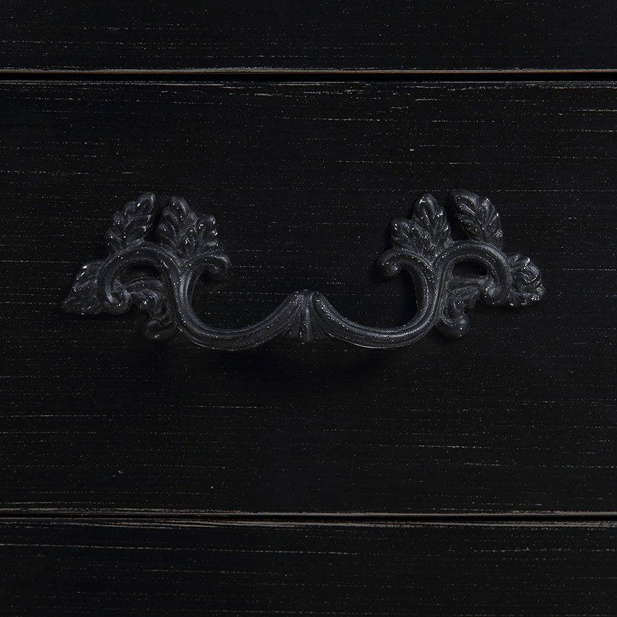 Petite commode noire 3 tiroirs en épicéa