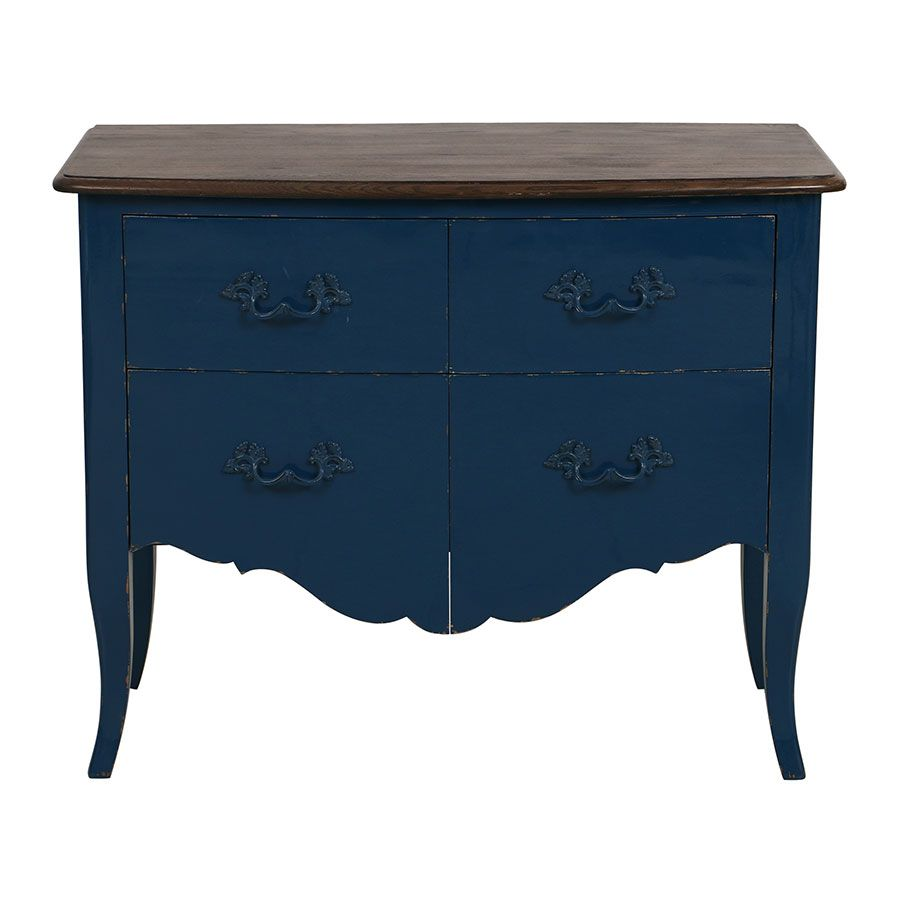 Commode 4 tiroirs en épicéa bleu saphir glossy