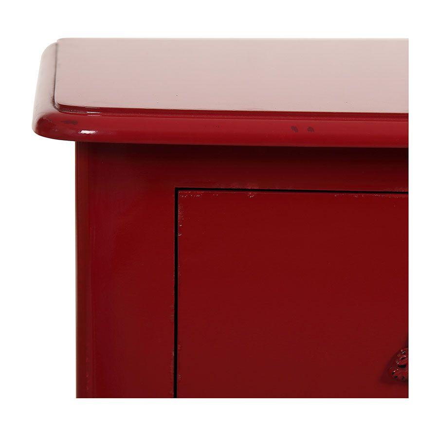 Commode 4 tiroirs en épicéa rouge groseille