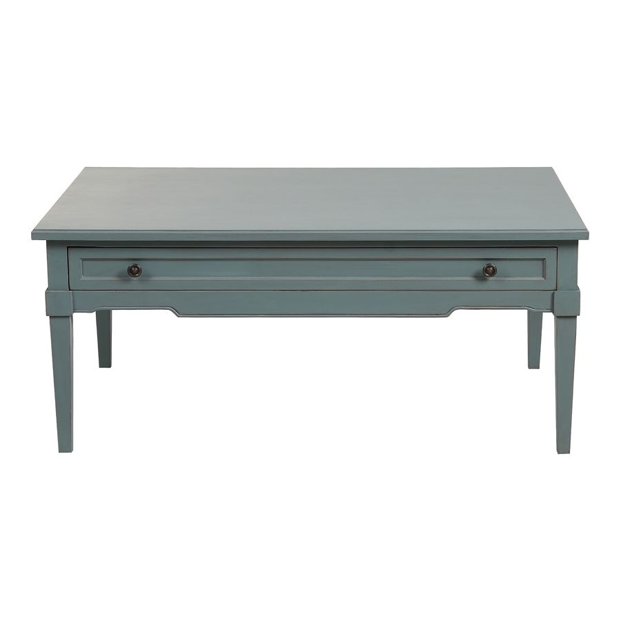 Table basse rectangulaire nuage de bleu patiné