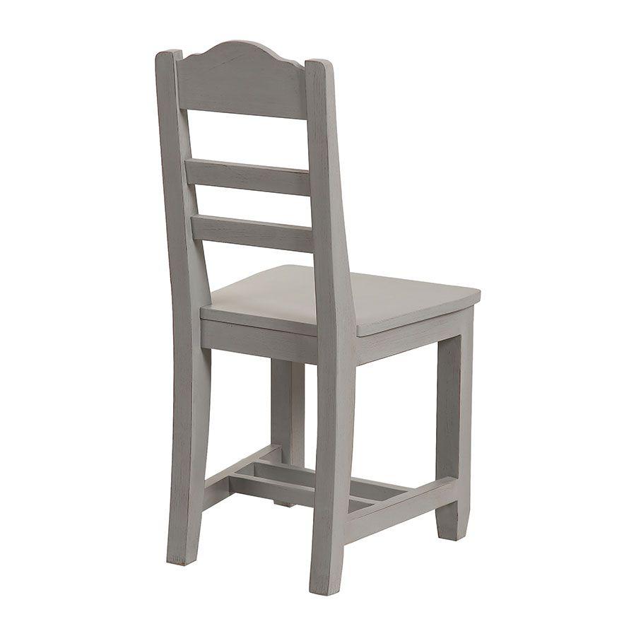 Chaise en bois gris perle - Brocante