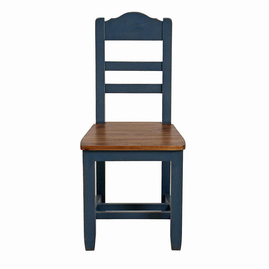 Chaise en pin massif bleu - Brocante