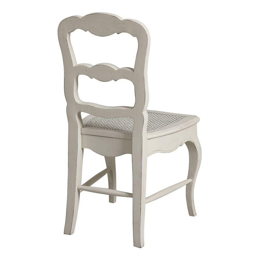 Chaise cannée en pin massif blanc - Château
