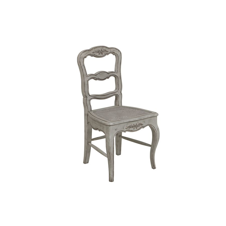 Chaise cannée en pin massif gris - Château