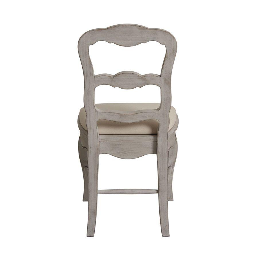 Chaise en tissu et pin massif gris argenté - Château