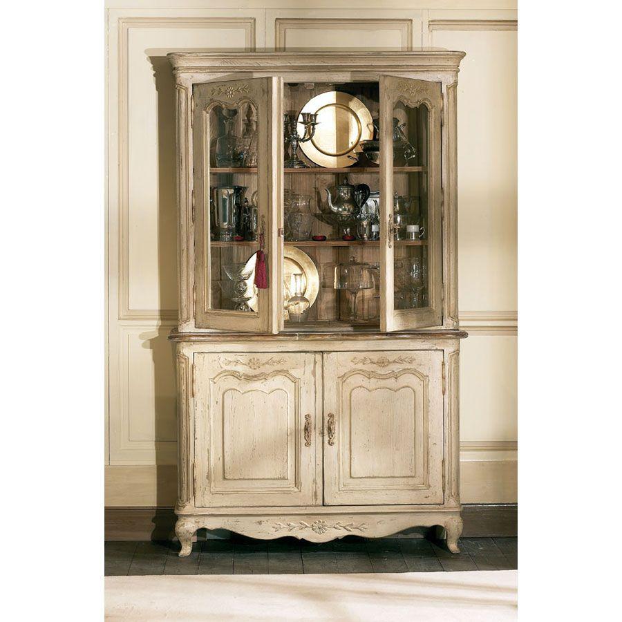 Buffet vaisselier 2 portes vitrées en pin - Château