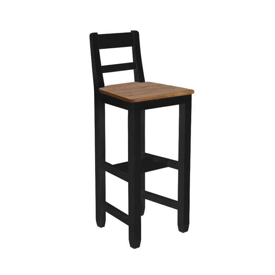 Chaise haute en pin massif noir - Brocante