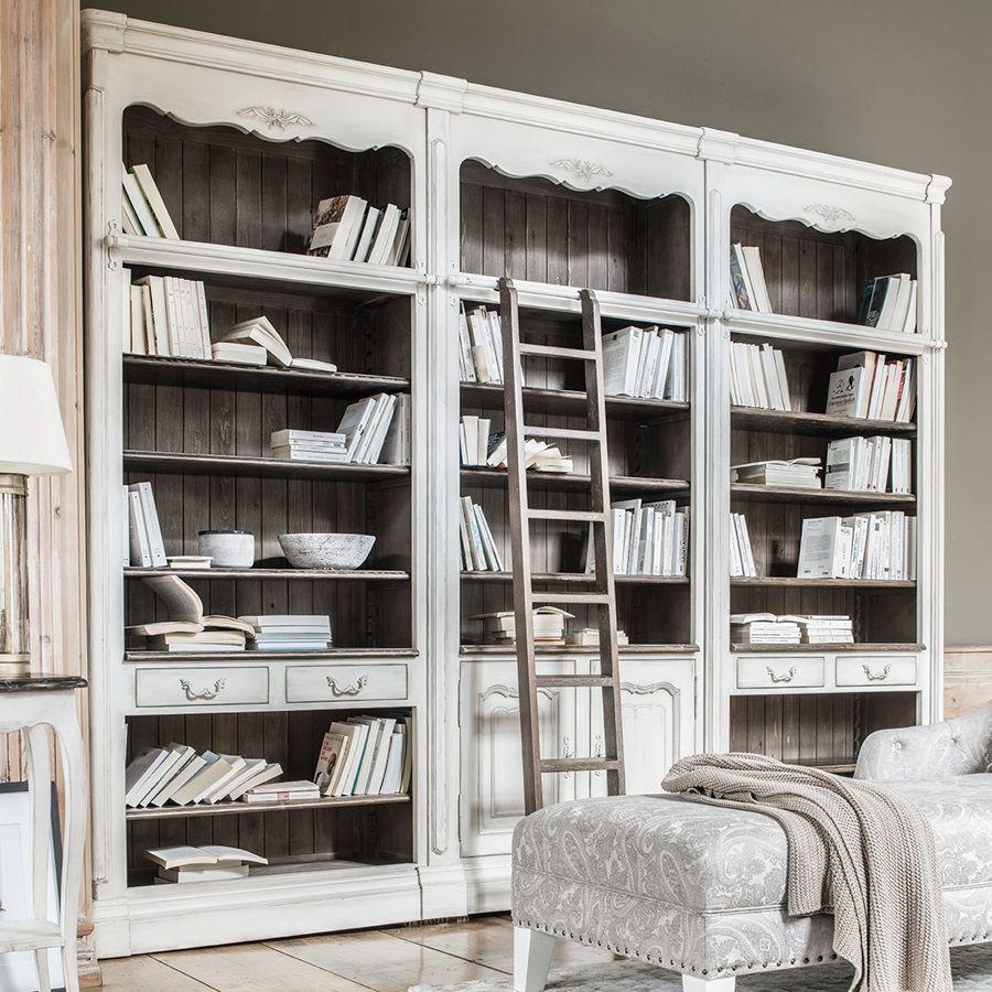 Set de jonction pour bibliothèques modulables en pin blanc opaline vieilli - Château