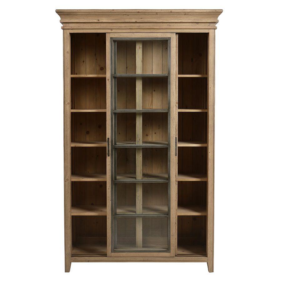 Bibliothèque 2 portes vitrées en bois massif - Initiale
