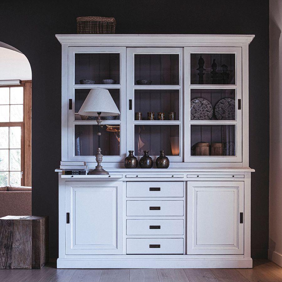 Buffet 3 portes vitrées blanc -Rhode Island