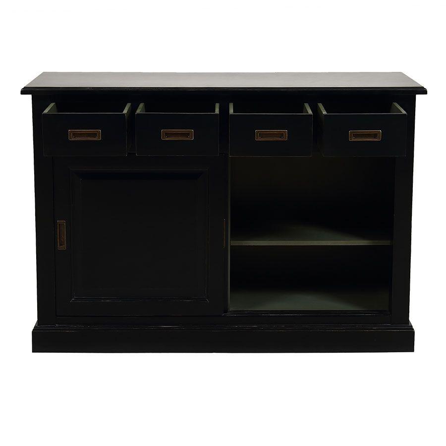 Bas de buffet 4 tiroirs 2 portes noir - Rhode Island