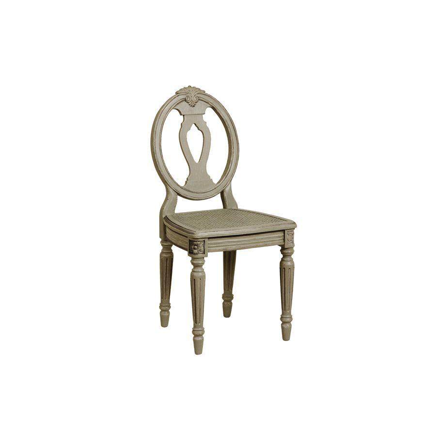 Chaise cannée Louis XVI en pin massif gris - Gustavien