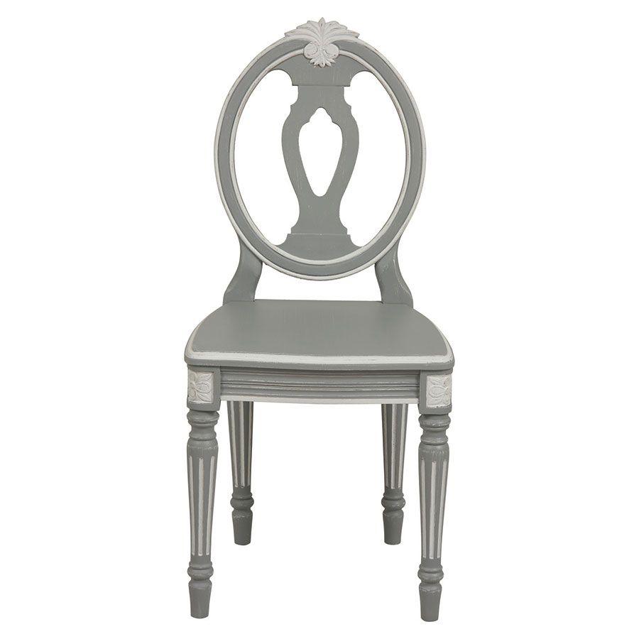 Chaise romantique en pin massif gris - Gustavien