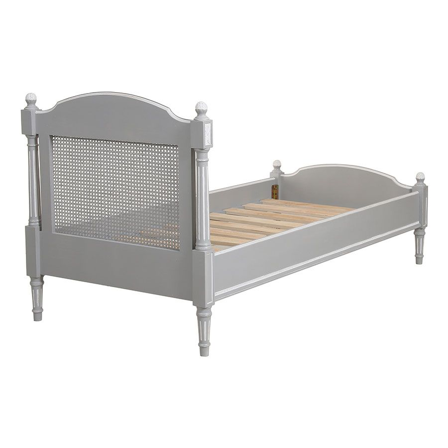 Lit enfant 90x190 en bois gris rechampis blanc - Gustavien