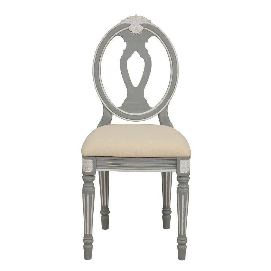 Chaise en tissu et pin massif gris - Gustavien