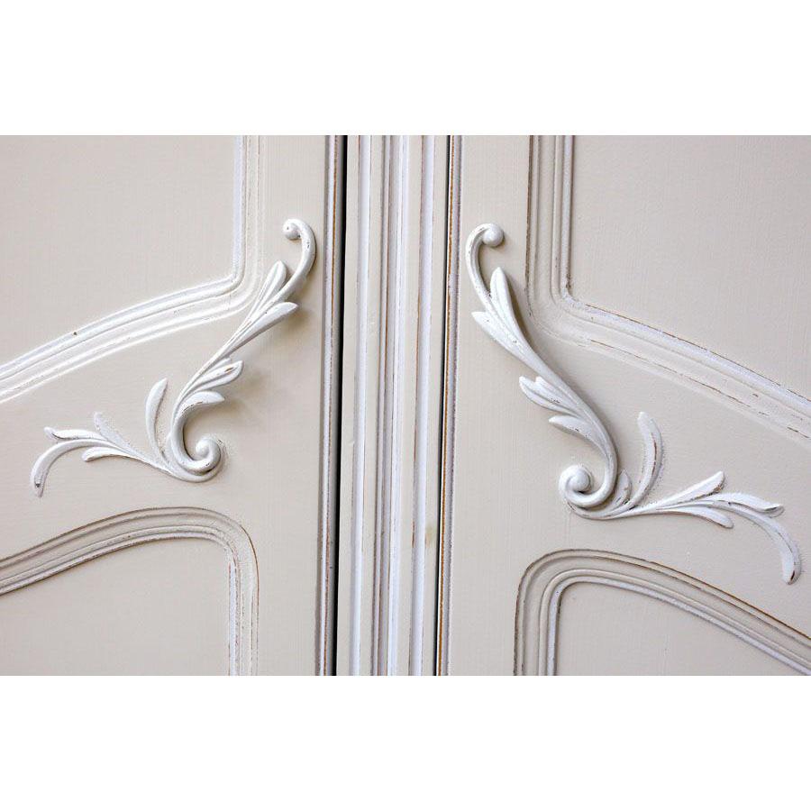 Armoire 2 portes en bois sable rechampis blanc - Lubéron