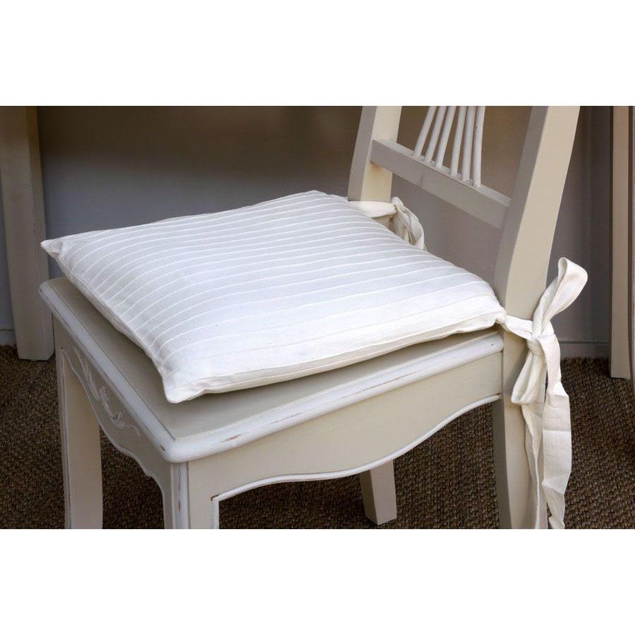 Chaise en bois sable rechampis blanc - Lubéron