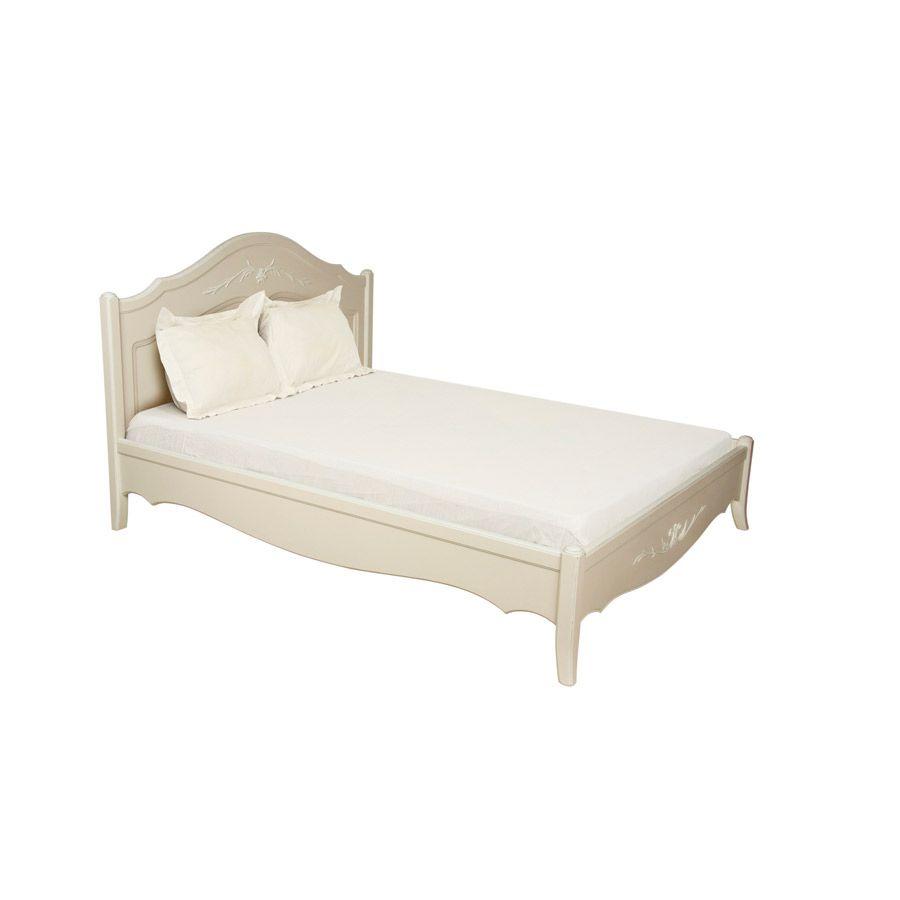 Lit 160x200 en bois sable rechampis blanc - Lubéron