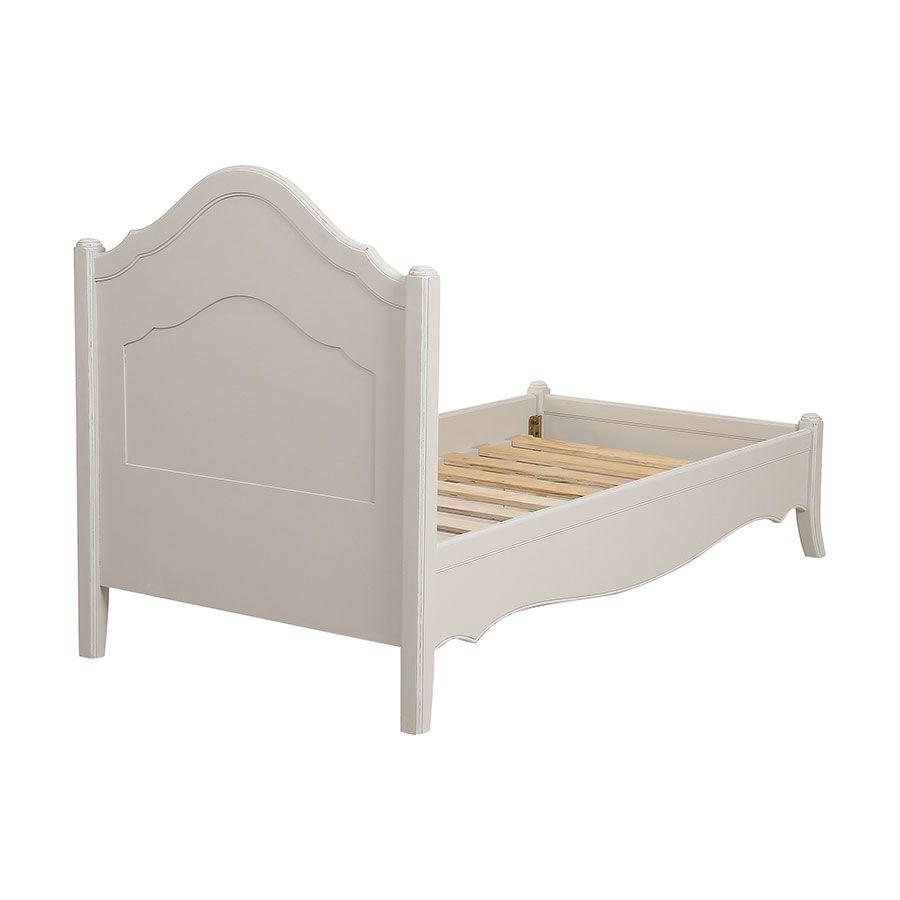 Lit enfant 90x190 en bois sable rechampis blanc - Lubéron