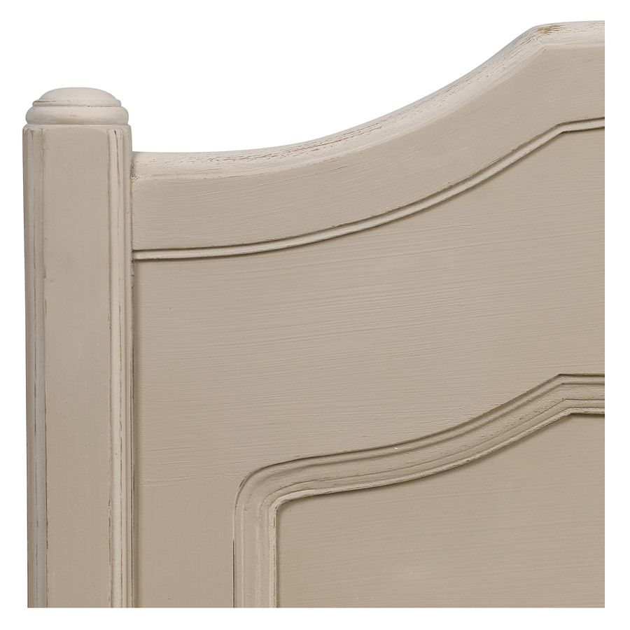 Lit 180x200 en bois sable rechampis blanc - Lubéron