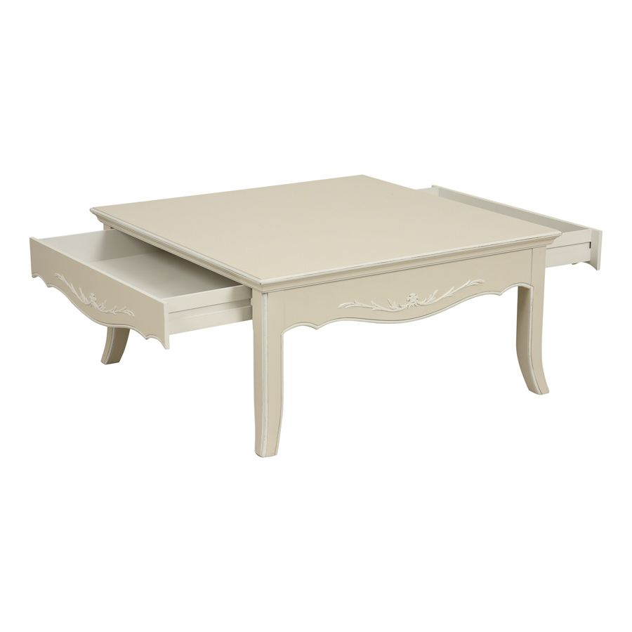 Table basse carrée beige - Lubéron