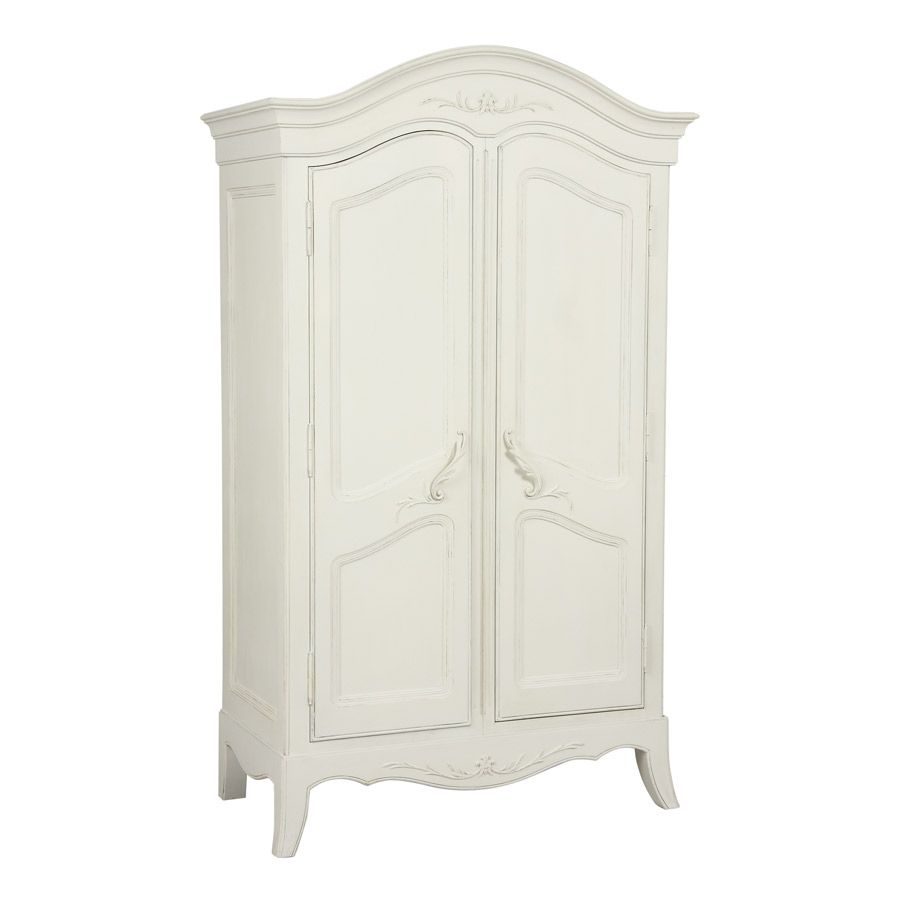 Armoire penderie blanche 2 portes en bois - Lubéron