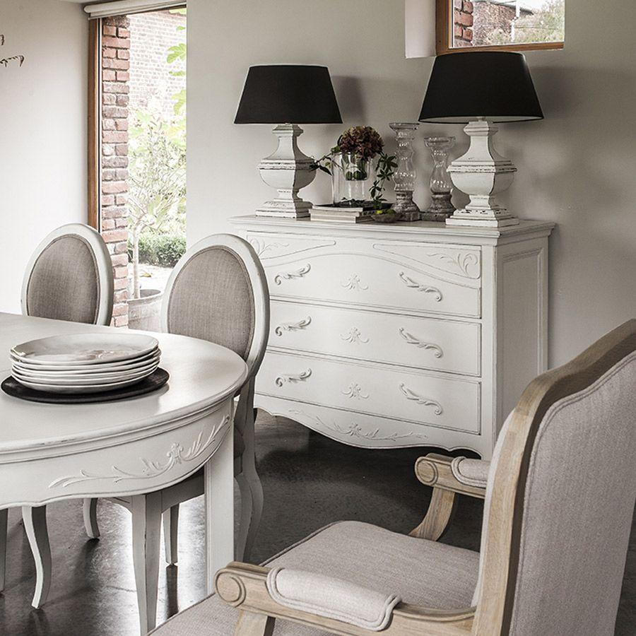 Commode 3 tiroirs en bois blanc vieilli - Lubéron - Commodes ...