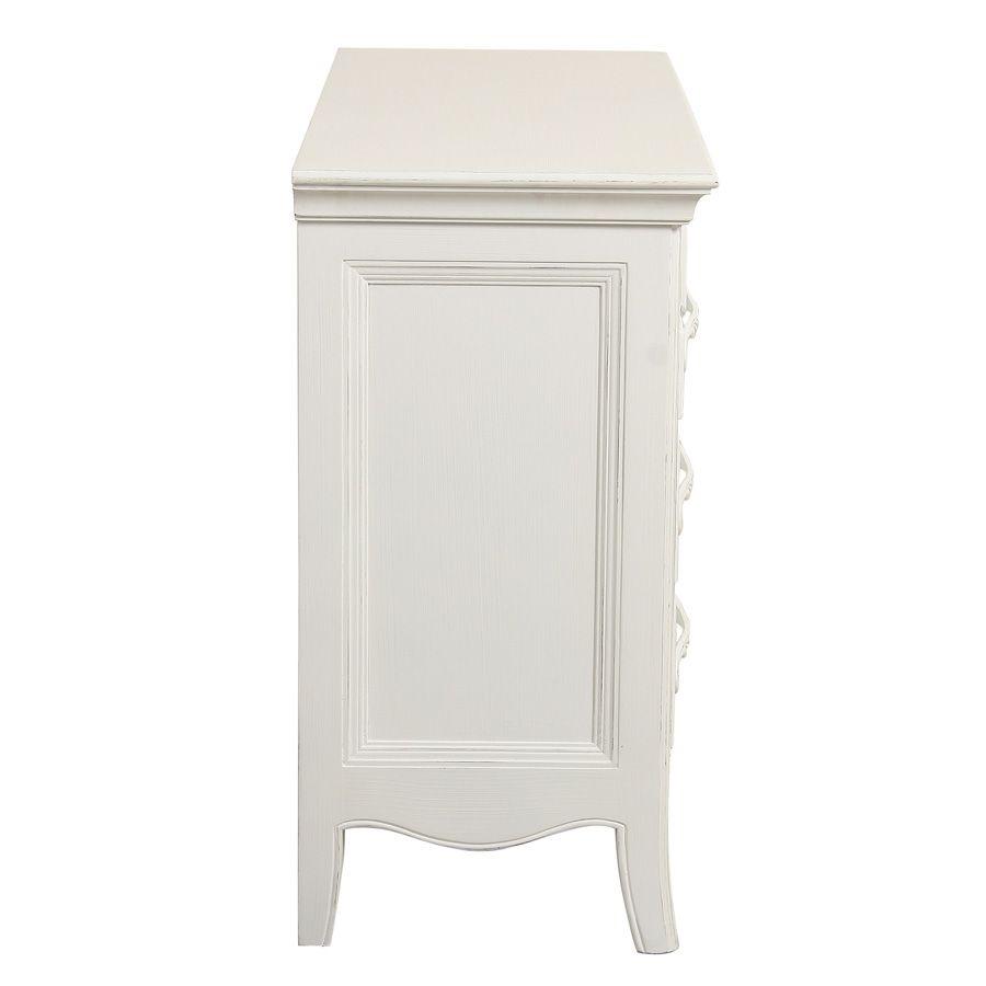 Commode 3 tiroirs en bois blanc vieilli L106 cm - Lubéron