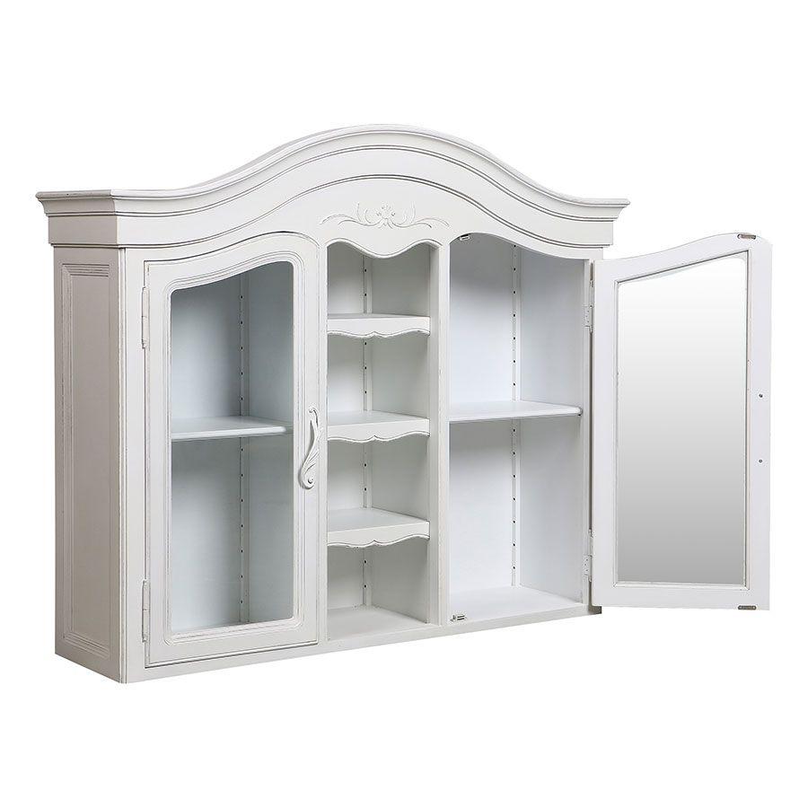 Haut de buffet vaisselier blanc 2 portes vitrées - Lubéron