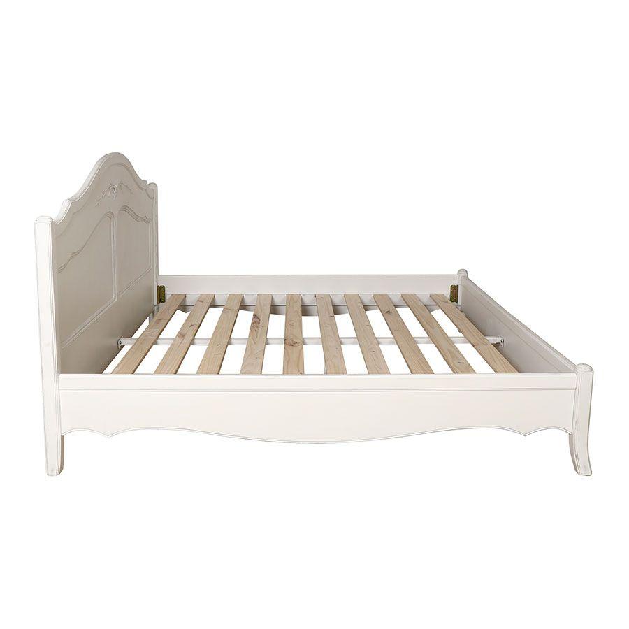 Lit 140x190 en bois blanc vieilli - Lubéron