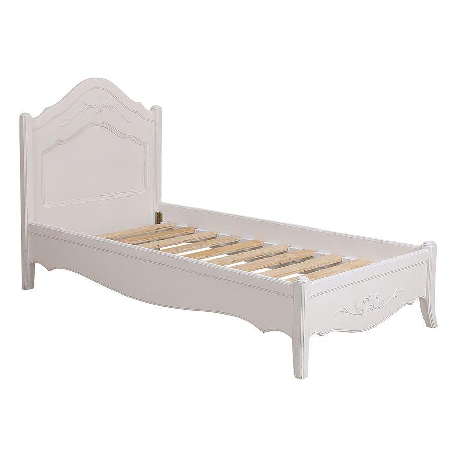 Lit 90x190 en bois blanc vieilli - Lubéron