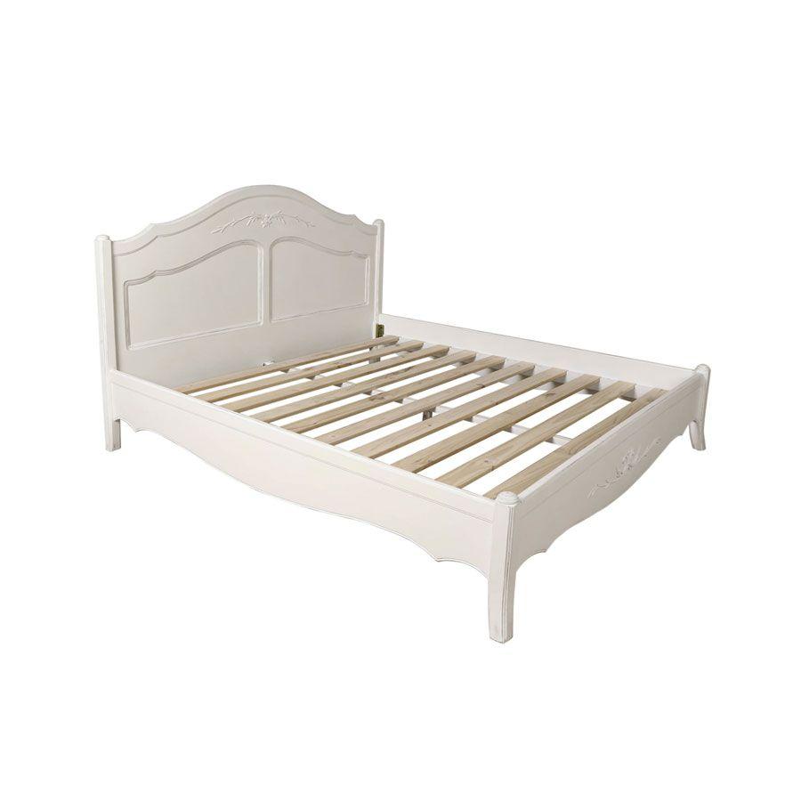 Lit 180x200 en bois blanc vieilli - Lubéron