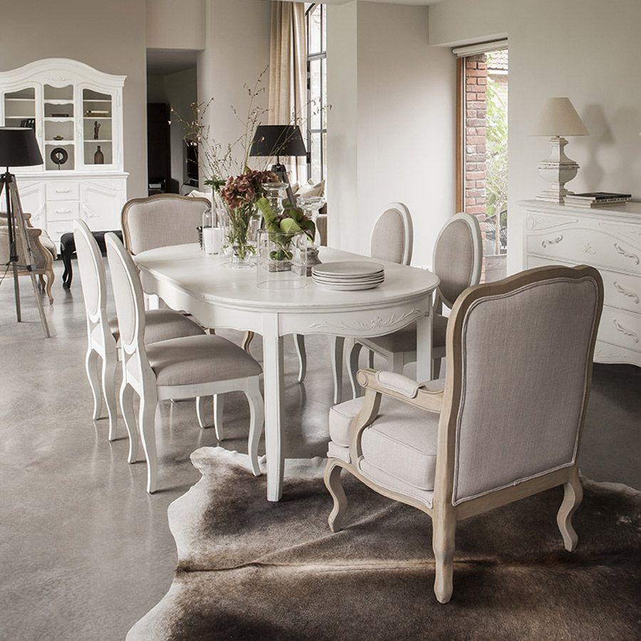 Table ovale extensible blanche 4 à 8 personnes - Lubéron