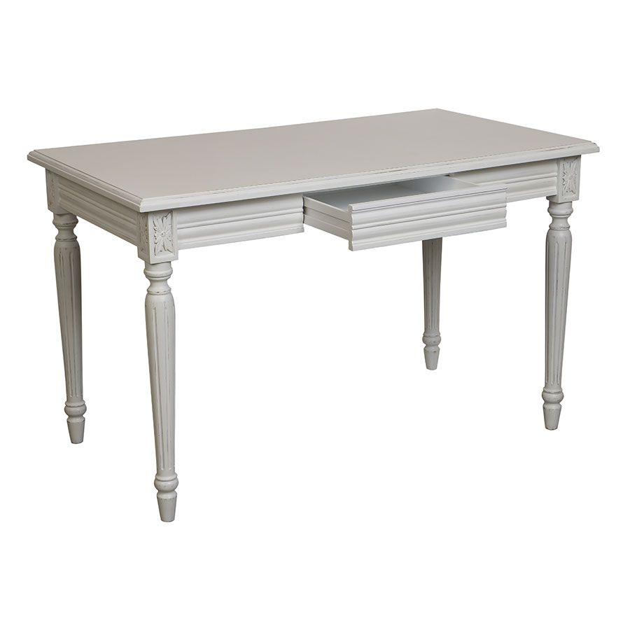 Bureau blanc 1 tiroir en bois - Gustavien