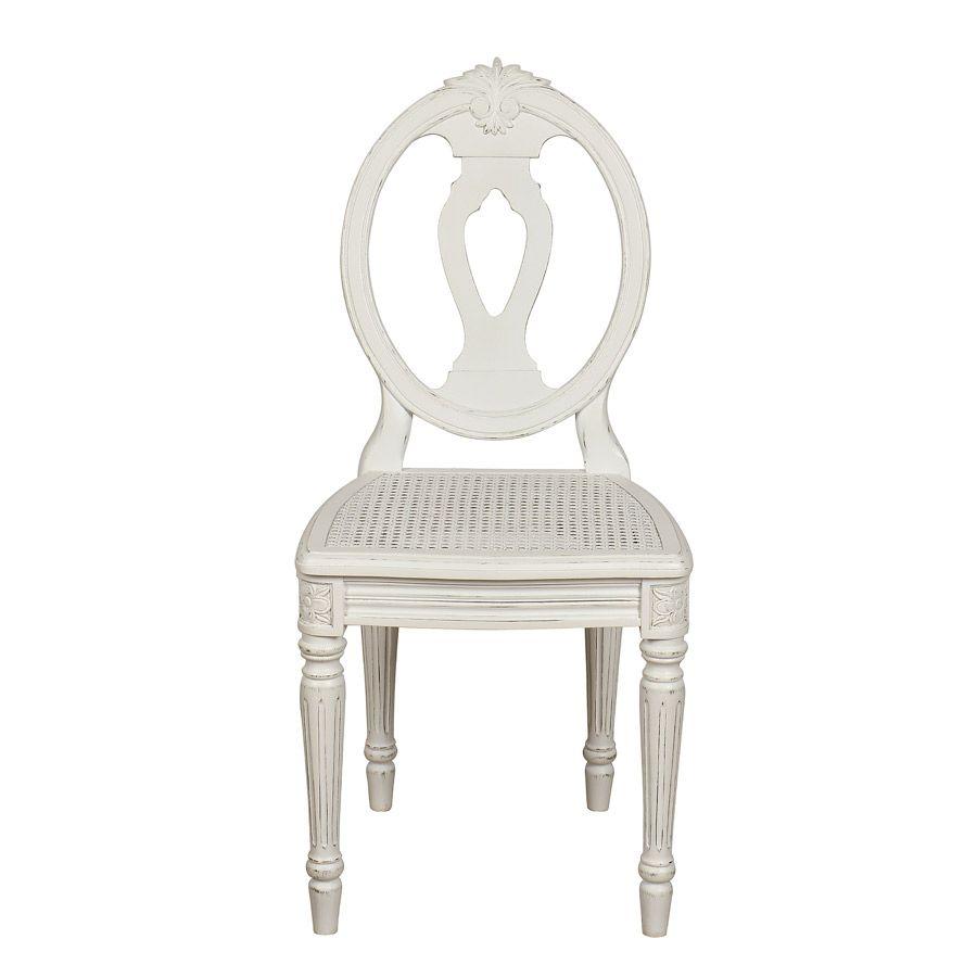 Chaise blanche cannée en pin massif - Gustavien