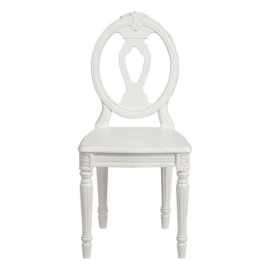 Chaise blanche  en pin massif - Gustavien