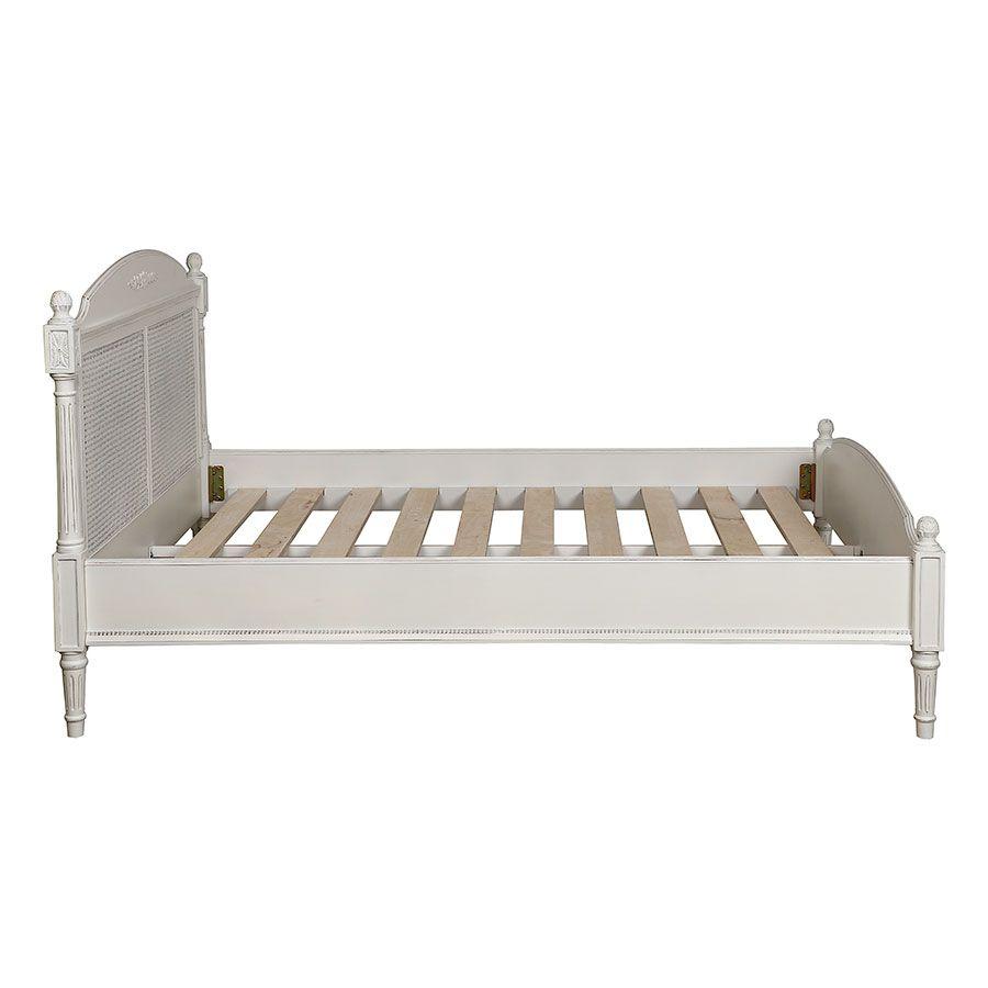Lit 140x190 en bois blanc vieilli - Gustavien